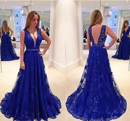 vestidos abiertos de la correa del cordón Rebajas 2019 NUEVO Sexy escote en V profundo vestidos de noche vestidos espalda abierta una línea Royal Blue Lace correas largas vestido de fiesta de la vendimia para las mujeres 2018
