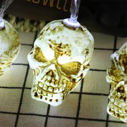 2019 lámparas de cabeza de cráneo 1.5 / 3M Halloween Evil Face Skull Head Lights Lámpara de cadena Decoración de fiesta de vacaciones Luz de cadena Decoraciones de Halloween con batería JK1909 lámparas de cabeza de cráneo baratos