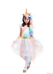 Unicórnio Princesa Tutu Vestido Ternos com 1 Unicórnio Corn Headband + 1 Asas de Ouro Roupas Cosplay Meninas Desempenho Estágio Vestidos de