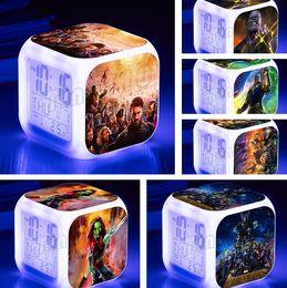 fern-portable alarm Rabatt Avenger Alliance 3 Student Kinder Wecker LED Sieben Farben Digitale Kleine Wecker Kreative Geschenk Elektronische Uhren T5I6004