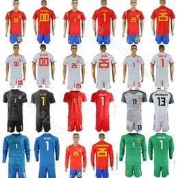 4119c4256bd Men Goalkeeper Spain David De Gea Jersey 2018 World Cup Iker Casillas Pepe  Reina Football Shirt Kits ARRIZABALAGA Pant