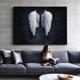 2019 pinturas ala Anime Angel Wings Wall Art Canvas Prints Angel Feather Ground Wings pinturas creativas en la pared foto para sala de estar decoración pinturas ala baratos