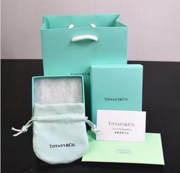 Marcas de papelaria on-line-Nova marca T Azul Designer de Caixas de jóias conjunto pulseira colar Anéis caixas com sacos de Papel e certificado de embalagem do presente caixas de neckalace