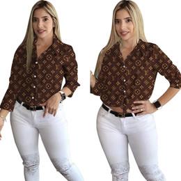 broche de manga comprida Desconto Livre o navio 2019 novas mulheres Carta Moda lapela Neck Impressão Camisas Casual Magro camisa de manga longa Tops XXL