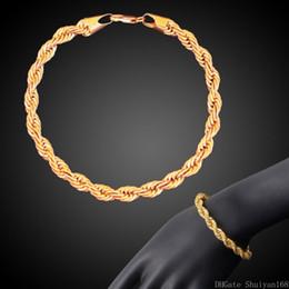 Bracelet de torsion d'or en Ligne-18 K Or Plaqué Twist Corde Chaîne Bracelets 3 MM 4 MM Hip Hop Lien Bracelet pour Hommes Femmes Vintage Déclaration Bracelet Bijoux Cadeau De Noël