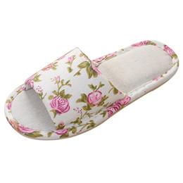 Zapatillas de lino online-Zapatillas de lino europeas y americanas. Zapatillas de casa. Sandalias y piso de mujer.