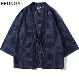 abrigos de estilo de las mujeres japonesas Rebajas EFUNGAL Estilo Japonés Streetwear 2019 Chaquetas de punto Abrigos Hip Hop Puntada Abierta Hombres Mujeres Moda Alta Kimono Harajuku Outwear