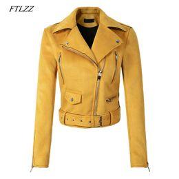 2019 señoras chaquetas de cuero amarillo FTLZZ Mujeres Faux Suave Chaqueta de Gamuza de Cuero Capa Verde Amarilla Dama Motocicleta Punk Chaqueta Negra Corta Cremallera Diseño Suede Abrigos señoras chaquetas de cuero amarillo baratos