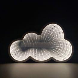 Luz da noite da nuvem on-line-Novo LED Lâmpada Do Túnel AA Bateria Infinito Espelho Night Light Home Decor Atmosfera Luz Luminaria 3D Nuvem Estrela Lâmpada de Parede