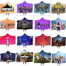 couverture en tricot jaune Promotion Fornite Cape Hooed Couverture Battle Royale 3D Imprimé Hiver chaud Wrap Châle double couche en peluche Cape Poncho Manteau de cadeau de Noël WX9-1117
