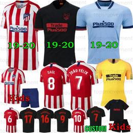 2020 jersey futbol 19-20 # 7 JOÃO Felix Futebol Homens Crianças Atletico KOKE Madrid SAÚL CORREA Thomas Lemar camisas Camiseta de Fútbol 2020 desconto jersey futbol