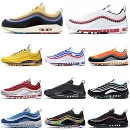 Camisa 45 on-line-Nike Air Max 97 airmax 97s Tênis de Corrida Dos Homens Das Mulheres All-Star Jersey ND Espaço Roxo Triplo Preto Branco Invicto Pacote Brilhante Citron mens Esportes Tênis 36-45