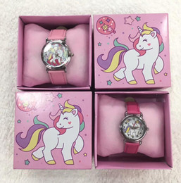 cartoon gift paper Coupons - Wholesale Lot unicorn Children Wristwatch Kids Cartoon Watches With Boxes Gifts W0013