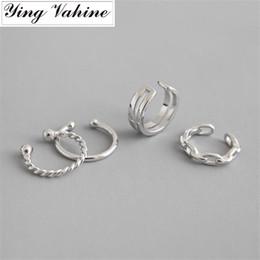 Goldkettenohrmanschette online-Ying Vahine 100% 925 Sterling Silber Keine Piercing Doppelschichtkette Gold Ohrstulpe Ohrclips für Frauen
