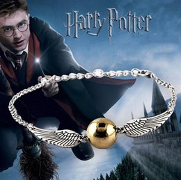 Encanto dorado online-Nueva llegada Quidditch Golden Snitch pulsera de bolsillo Harry Charm Pulseras Alas Potter Cintage Muñequera Joyería Fina Plata y coppe A5021