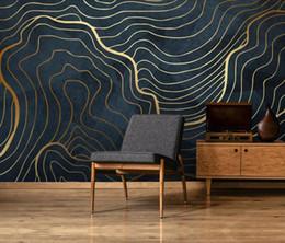 Papel de parede do ouro da sala de estar on-line-Gold Line Abstract 3D Wallpaper criativa Mural para sala Início Art Decor parede Papel De Parede Designer Wallpaper