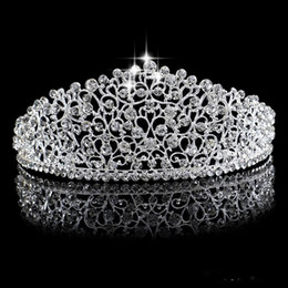 flower tiara crown headpiece Promo Codes - Sparkling Silver Big Wedding Diamante Pageant Tiaras Hairband Crystal Bridal Crowns For Brides Prom Pageant Hair Jewelry Headpiece 2019
