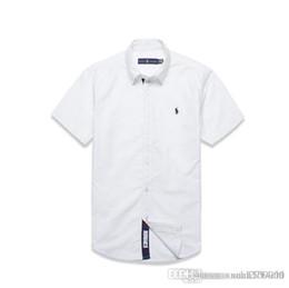 Pantalones cortos slim hombres estilo coreano online-Camisa de manga corta de algodón puro para hombres de negocios casual camisa delgada coreana moda de verano juvenil estilo de Hong Kong para hombres
