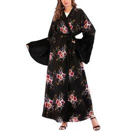 Campana anteriore online-Vendita calda Primavera Estate 2XL Plus Size Floral Print Front Open Kaftan Dress Ankle Length Bell Sleeve Ladies Abaya Dress