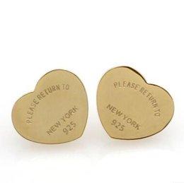 rhinestone letter earrings Promo Codes - Top Quality Classic Style Famous Designer Heart Love Ear Studs 1CM 3 Colors Luxury Letter Stainless Steel Earrings For Women Wholesale Price