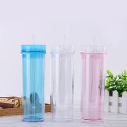 garrafas de água novas palhetas Desconto 15 oz transparente dupla camada caneca com palha criativo bonito copos de água Novo esporte garrafa de água selada copo plástico à prova de vazamento DBC vt1708