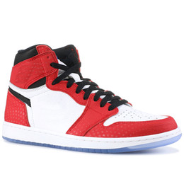 balle spiderman Promotion Nike Air Jordan 1 Retro High OG Spiderman X 1 OG Chaussures De Basket-ball Pour Hommes Femmes 2019 Meilleure Qualité 1S Haute Chicago Sport Designer Baskets Avec la boîte US5.5-13