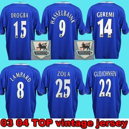 Pés de veludo on-line-Nome de veludo Lampard 03 04 05 Camisa de futebol clássico de Drogba Hasselbaink 2003 2004 2005 Camisa de futebol clássico de Crespo retro Terry Maillot de pé