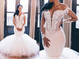 ivory gold mermaid wedding gown Coupons - Sheer Long Sleeves Off Shoulder Slim Mermaid Wedding Dresses Modest Lace Appliques Slim Garden Bridal Gowns Customized Formal Robe De Mariee