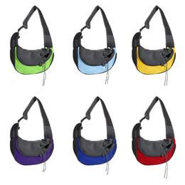 sacs à provisions pour chiens en gros Promotion Chat chien Sling Mesh sac Pet Carrier Cross sac à bandoulière sac à dos perméable à l'air avec des types colorés de voyage en plein air Animal apporter des outils LJJQ109
