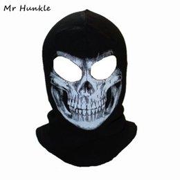 Crâne d'hiver Masque Balaclava Bonnets Chapeaux d'homme fantôme crâne masque facial porte sur capot Bonnet Gorros Hombre Casquette ? partir de fabricateur