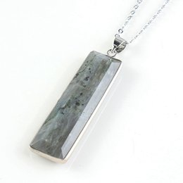 2019 plaque d'argent rectangle Kraft-perles En Argent Plaqué Rectangle Forme Labradorite Pierre Section Pendentif Lien Chaîne Collier Ethnique Bijoux plaque d'argent rectangle pas cher
