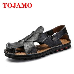 06c554a22b3a1 TOJAMO Summer Fashion Men s Sandals Genuine Leather Breathable Mens Shoes  Beach Sandals Sandalias hombre Rome Classic Shoes