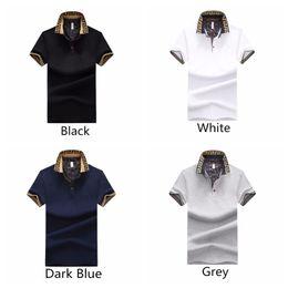 2019 botones cortos Hombres camisetas Casual Hombre Verano Turn-Down Collar botón manga corta camisa de algodón desgaste al aire libre 4 colores botones cortos baratos