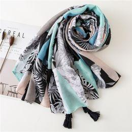 KYQIAO foulard de marque de luxe hijab écharpe femme automne printemps style  espagnol ethnique hippie long motif géométrique bleu de68d2f36fa