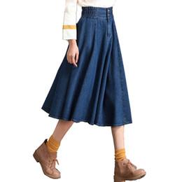 8xl Oversize Saia Plissada Para As Mulheres Elástico Na Cintura Botão A-line Saia Jeans Faldas Mujer Coreano Feminino Verão Denim Midi Saia supplier korean jeans elastic waist de Fornecedores de cintura elástica coreana jeans