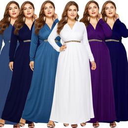 Più le donne dei vestiti da sera 2020 maniche lunghe abito di sera sexy del V collo del vestito da partito Bianco Viola Nero Blu Navy da colorblock donna vestito fornitori