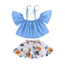 jupes enceintes Promotion Spaghetti Strap Fly Sleeve Lace-Up Top Floral taille élastique jupe de la nouvelle fille pour enfants New enceinte et bébé enfants vêtements vêtements filles BY1127