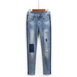 Прямые палочки онлайн-Casual Jeans Female Hole Sticking Cloth Patch Radish Hallen Pants Loose Slim Striped Straight Trousers