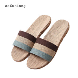 linen slippers Promo Codes - Hot Sale Men's Linen Slippers Home Indoor Breathable Sandals Mixed Color Striped Rainbow Flip Flops Summer Men's Slippers