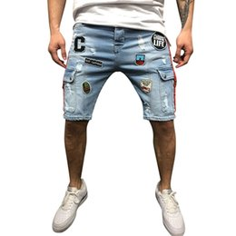 мужские шорты slim board  Скидка Men cargo shorts bermuda homme male Short Jeans Casual Jean Skate Board Slim denim short men jeans shorts homme