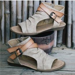 Scarpe da pesca taglia 11 online-La primavera e l'estate di nuovo stile denim fibbia della cintura scarpe da donna bocca di pesce big size Roma sandali suola piatta formato degli Stati Uniti 5-11