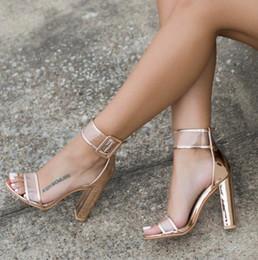 2019 calcanhares de sandálias de atadura XingDeng Senhoras Bandage Transparente Sexy Verão Partido Rebanho Sandália Sapatos 35-42 TamanhoSandálias Tira No Tornozelo Sandálias de Salto Alto Sapatos calcanhares de sandálias de atadura barato