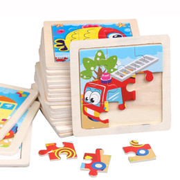 Animal wooden puzzle on-line-15 pçs / lote Novo 9 Fatia de Puzzle De Madeira Simples Jigsaw Animal Veículo Veículo de Brinquedo De Madeira para Crianças Do Bebê Aprendizagem Precoce Educacional Brinquedos Presente DK-M500