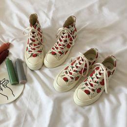 Zapatos de lona de caramelo de las mujeres online-Atractivo2019 Canvas Strawberry Shoe High Help Joker Student Soft Girls In Seaboard Chic Street Time Candy Color Zapatos de mujer
