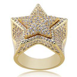 Pentagram de diamante on-line-2019 Pentagrama estrela do anel de luxo fora congelado CZ Cubic Zirconia Hip Hop ouro Anéis completa Diamond Street Rapper acessórios de moda jóias M663F