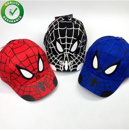 Niños Diseñador Sombreros Dibujos de Spiderman Niños Bordado Algodón Gorra  de béisbol Niño niña Hip Hop Sombrero Spiderman Cosplay Sombrero Moda  navideña ... c2f9e8e05fd