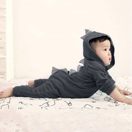 Chicas con capucha con cremallera online-CHAMSGEND 2019 Summer Infant Toddler Baby Girls Boys Dinosaur Hoodie Romper Zip Ropa Jumpsuit 19MAY9 P25