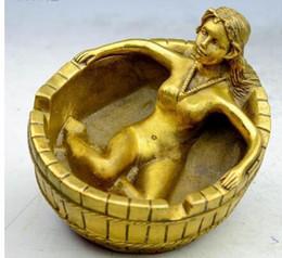 Statue de nus en Ligne-Statue cendrier de beauté nue faite à la main en laiton
