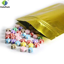 sellos de lámina de oro Rebajas 16x24cm alta calidad (6.25x9.5in) 100pcs de oro brillantes termosellado de la hoja de Mylar planas bolsas Zip Lock bolso del embalaje de alimentos bolsa de almacenamiento