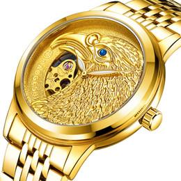 LAOGESHI Eagle Sculpture Полый циферблат Стальная полоска водонепроницаемая Luminous Simple Сквозь низ роскошное платье Полностью автоматические Механические часы от Поставщики золотой сенсорный экран смотреть